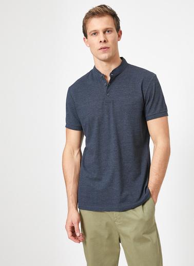 Koton Hakim Yaka Basic Slim Fit T-Shirt Mavi